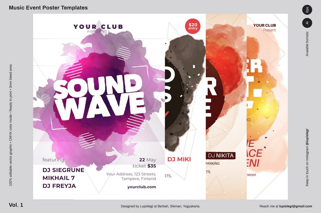Abstract-Music-Poster-Template 10 Minimal Poster Design Examples (+10 Templates) design tips