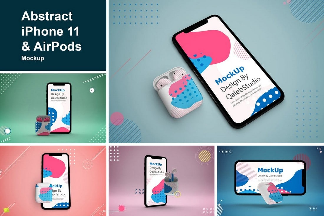 Abstract iPhone 11 & AirPods Mockups