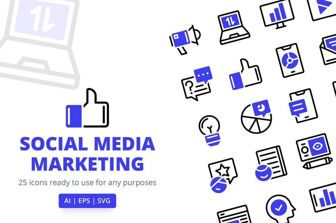 Adobe XD Social Media Marketing Icons
