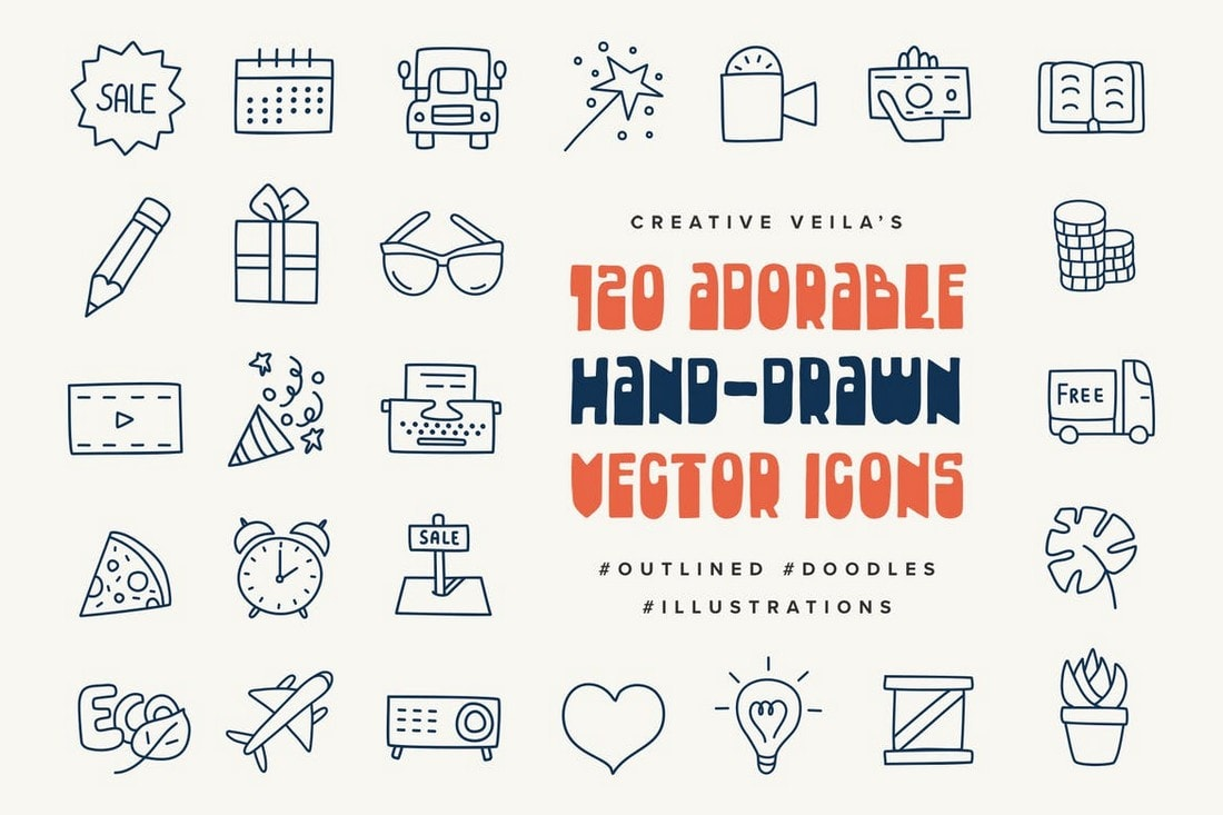 Adorable Hand-Drawn Vectors Icons For Instagram