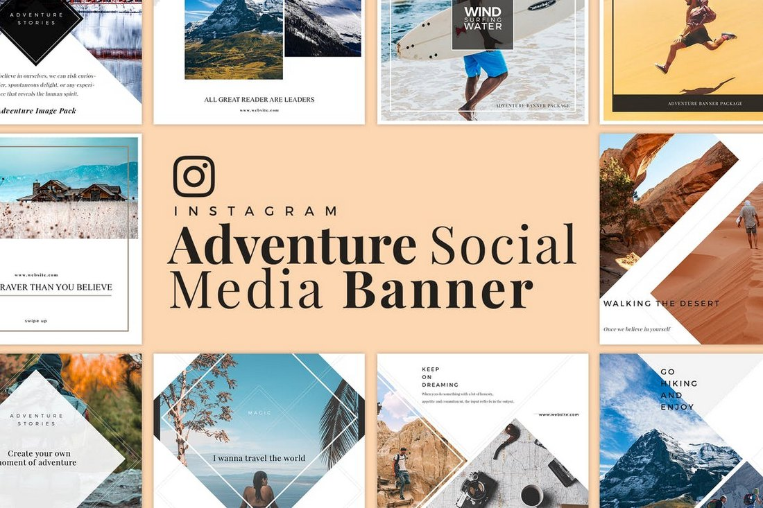 Adventure-Travel-Social-Media-Banner-Templates 40+ Best Social Media Kit Templates & Graphics design tips  Inspiration|facebook|social media|twitter