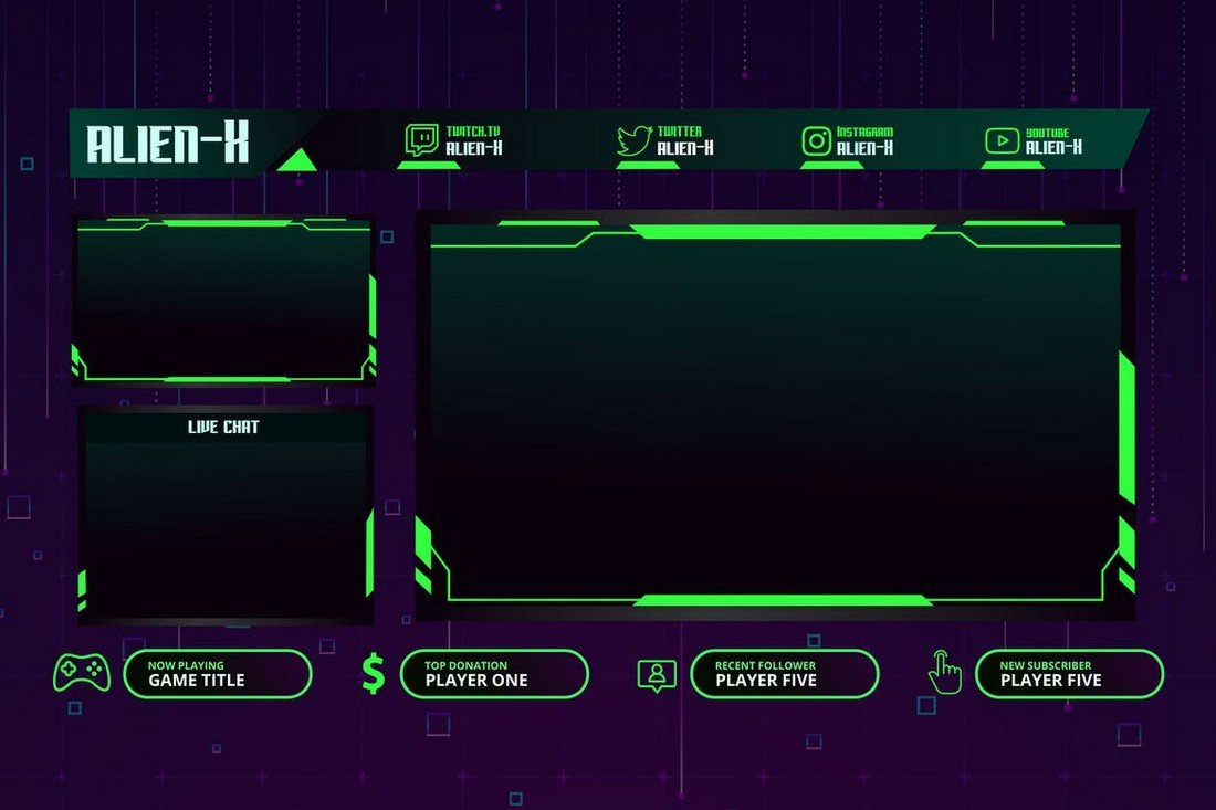 AlienX - Twitch Overlay Template