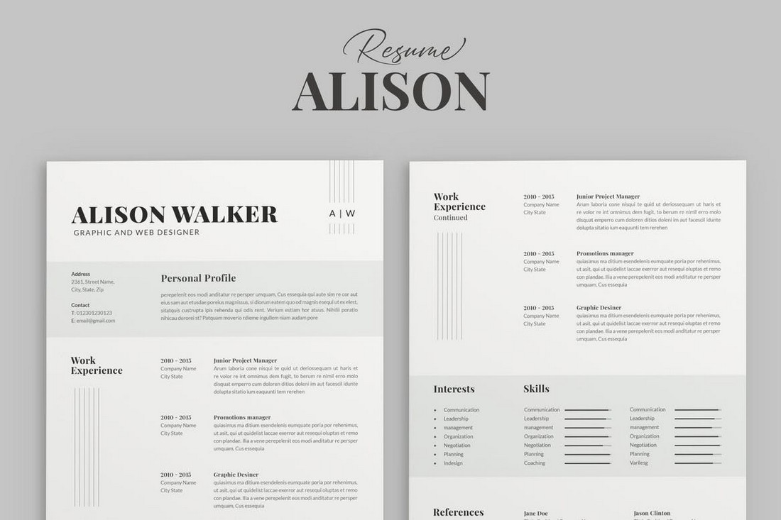 Alison - Apple Pages Resume Template