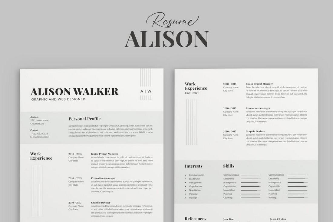 Alison - Minimal Word Resume Template