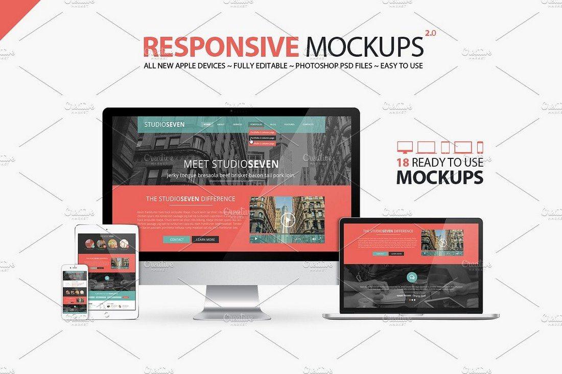 All-New-Responsive-Mockups 40+ iMac Mockup PSDs, Photos & Vectors design tips