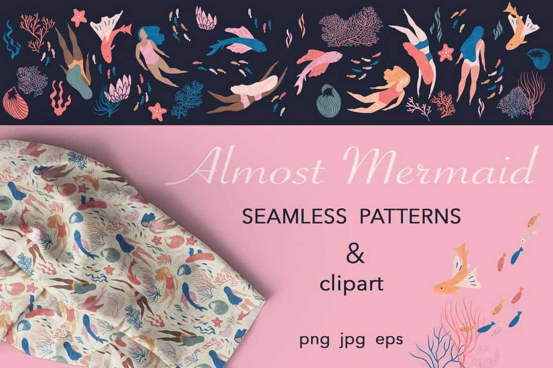 Almost Mermaid Seamless Patterns