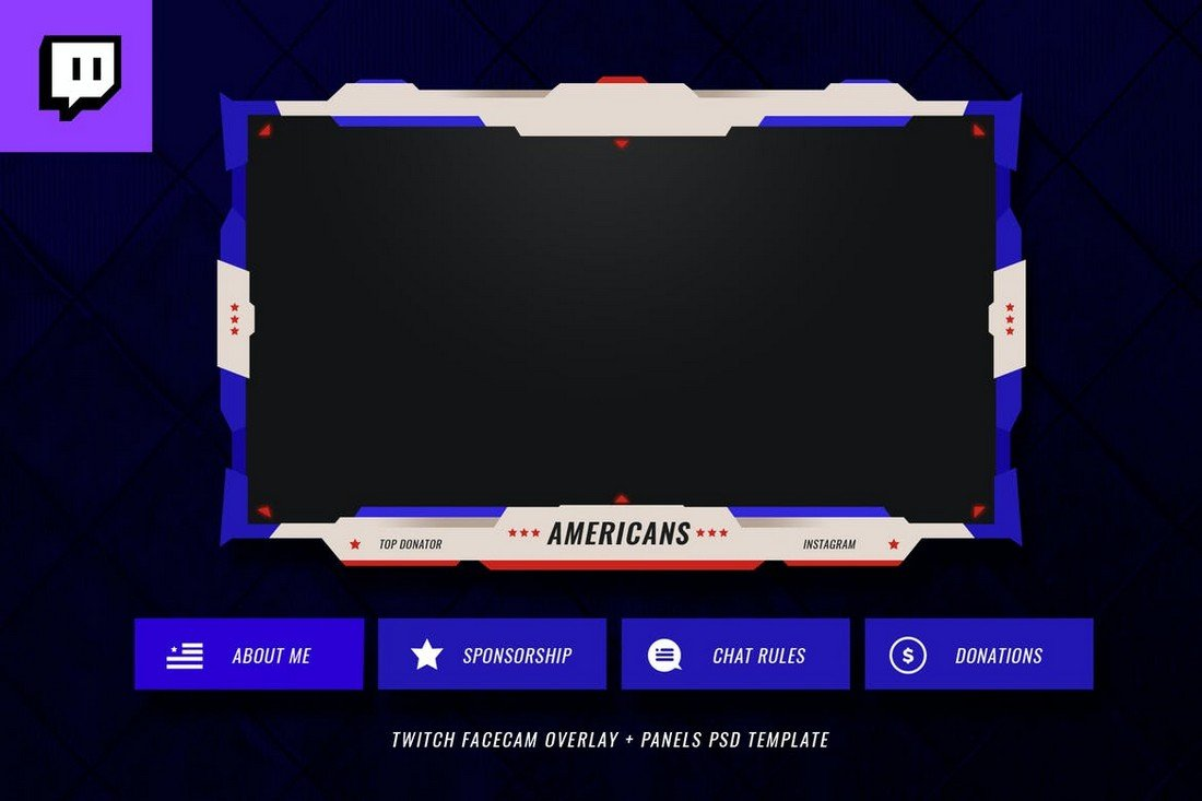 Americans-Twitch-Stream-Overlay-Template 15+ Best Twitch Stream Overlay Templates in 2020 (Free & Premium) design tips