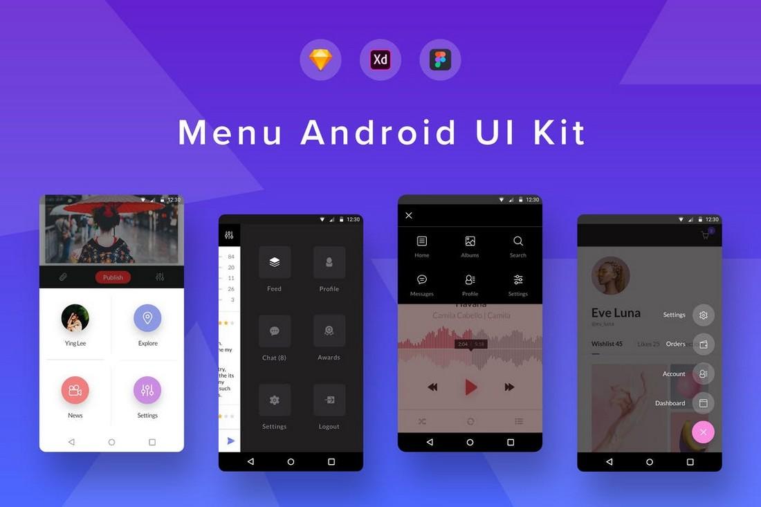 Android Menu UI Kit for Figma