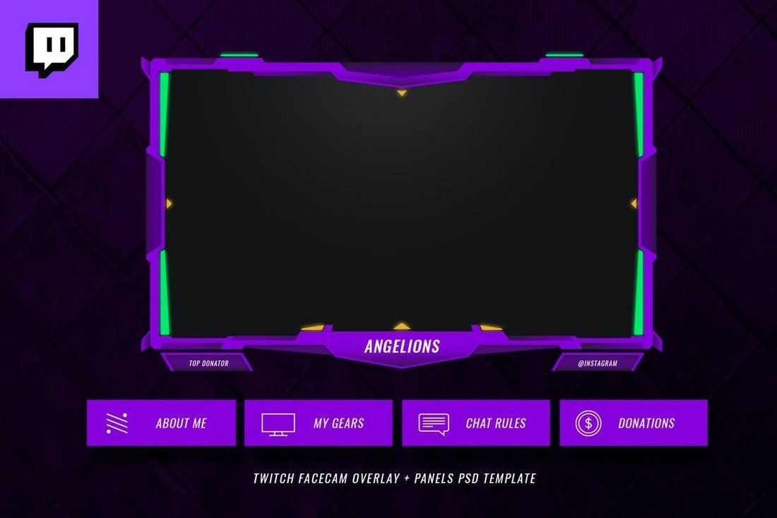 Angelions - Twitch Facecam Overlay Template