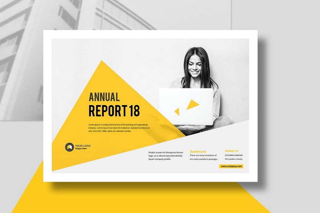 Annual-Report-Landscape-Template 20+ Annual Report Templates (Word & InDesign) 2018 design tips