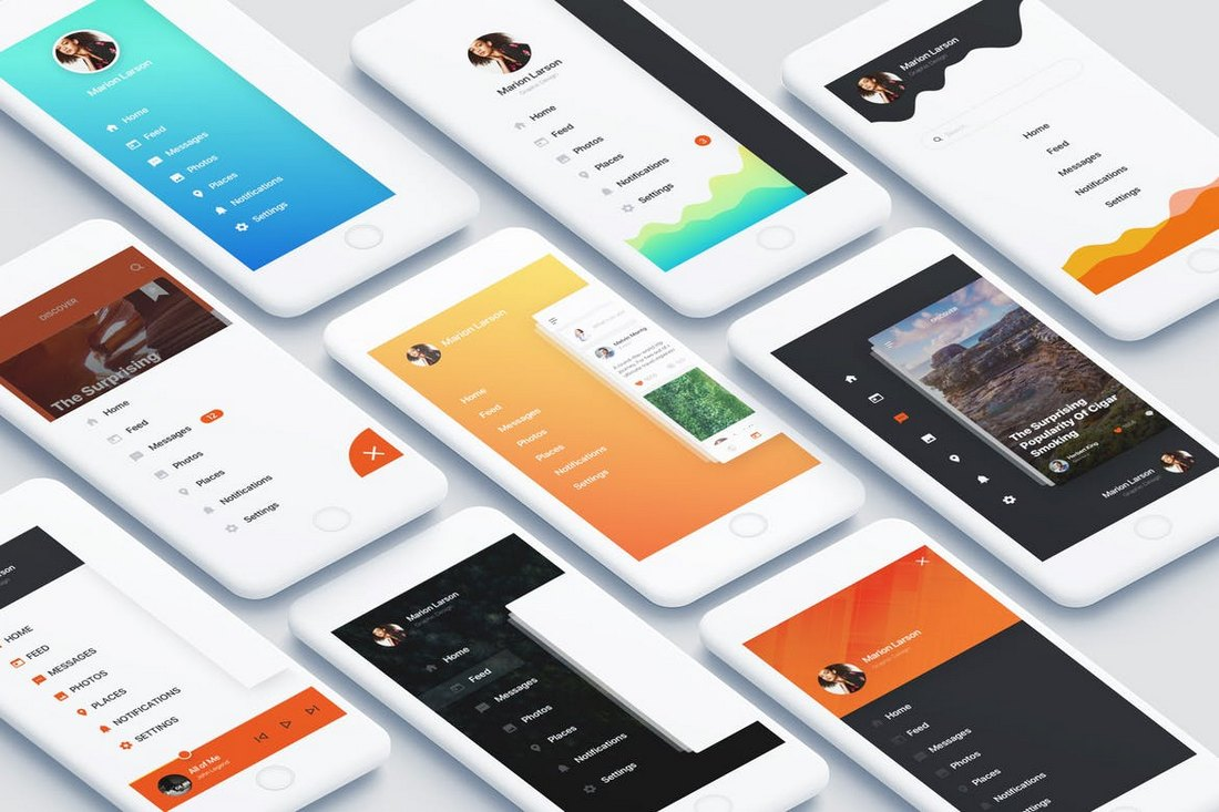 App Navigation UI Kit Sketch Templates