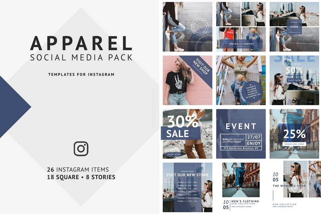 Apparel-Social-Media-Pack 40+ Best Social Media Kit Templates & Graphics design tips  Inspiration|facebook|social media|twitter