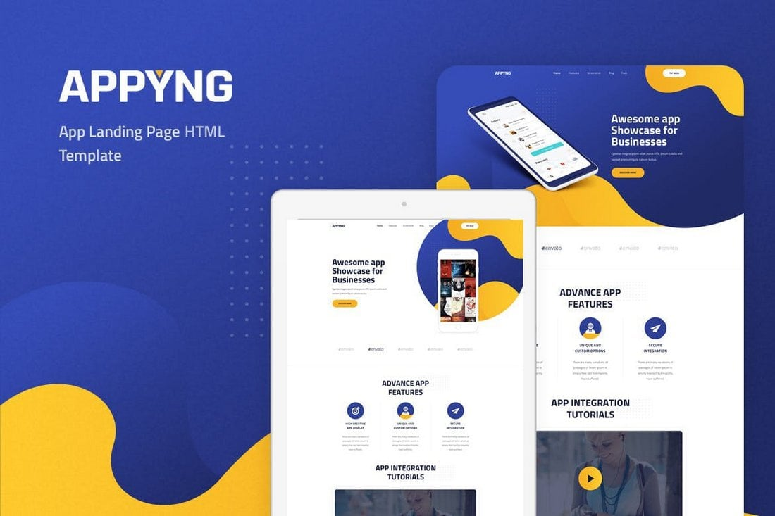 Appyng-App-Landing-Page-HTML-Template 50+ Best App Landing Page Templates 2021 design tips