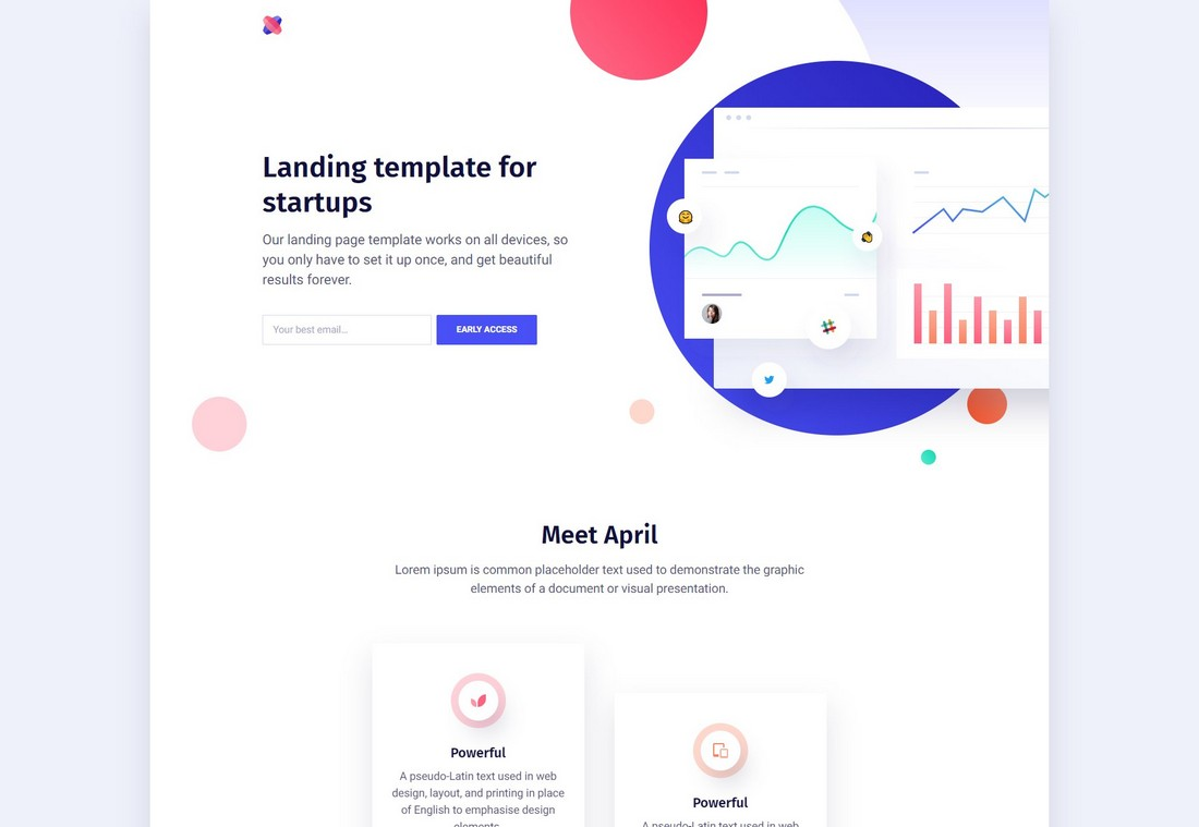 April - Free Creative Landing Page Template