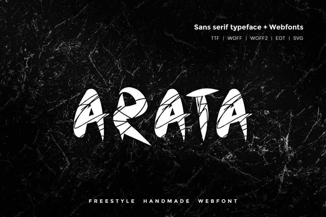 Arata-Handmade-Freestyle-Font 30+ Best Fonts for Business Cards design tips