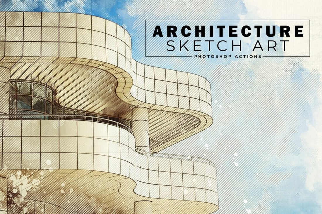 Architecture-Sketch-Art-PS-Actions 20+ Best Photoshop Filters + Plugins 2020 (+ How to Use Them) design tips