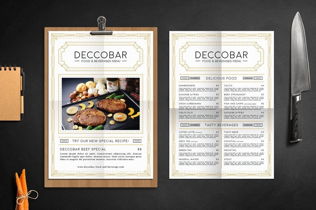 30 best food drink menu templates design shack. Black Bedroom Furniture Sets. Home Design Ideas