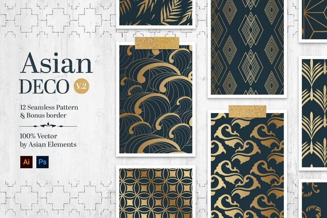 Asian Deco - Seamless Vintage Patterns