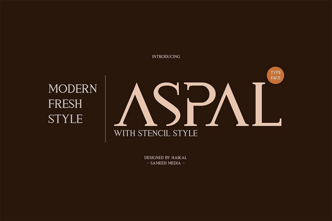 Aspal Is An All Caps Modern Serif Font That Has A Beautiful Design For Crafting Elegant Logos And Signage The Comes In Both Regular Stencil Styles