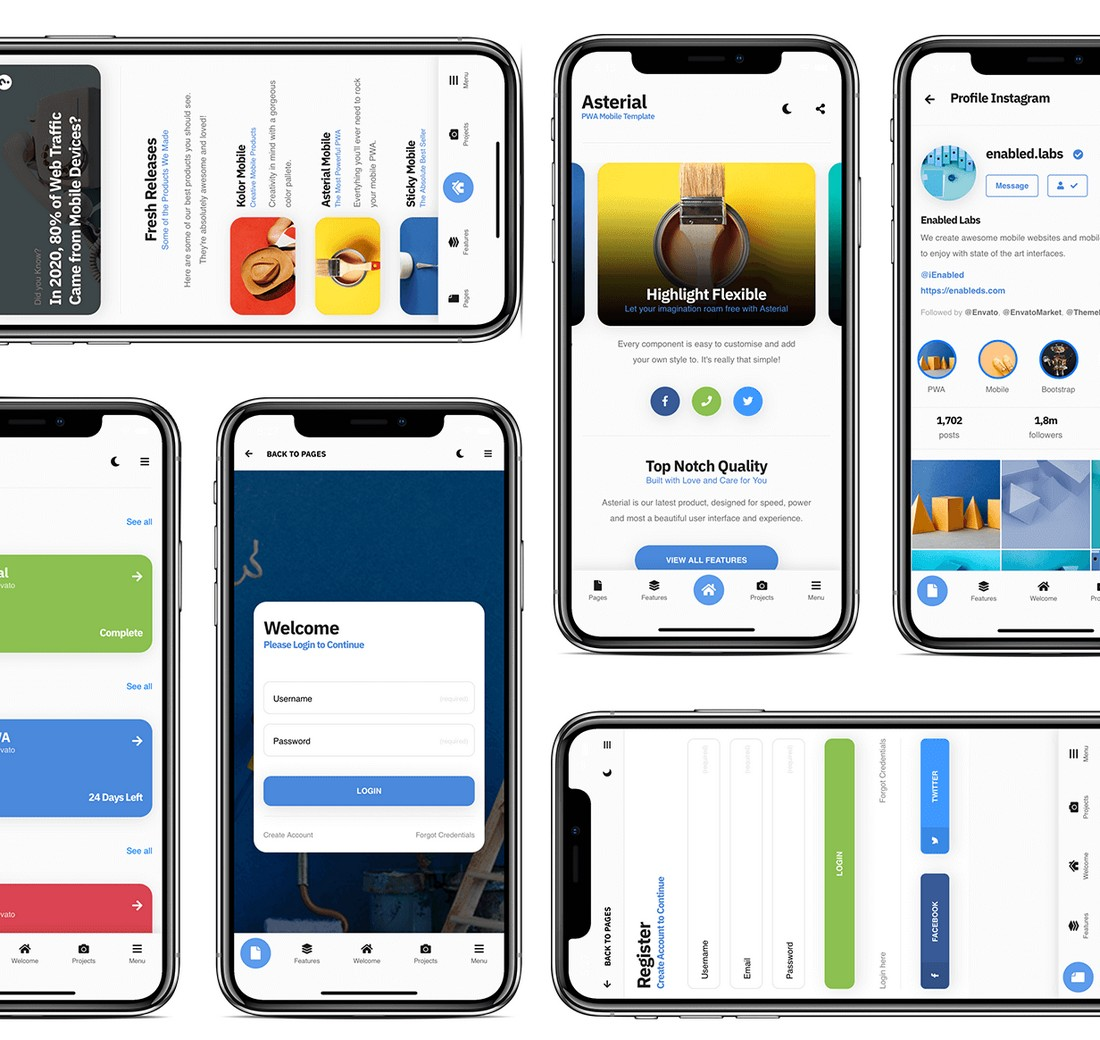 Asterial-mobile 10+ Best Progressive Web App (PWA) Templates 2020 design tips
