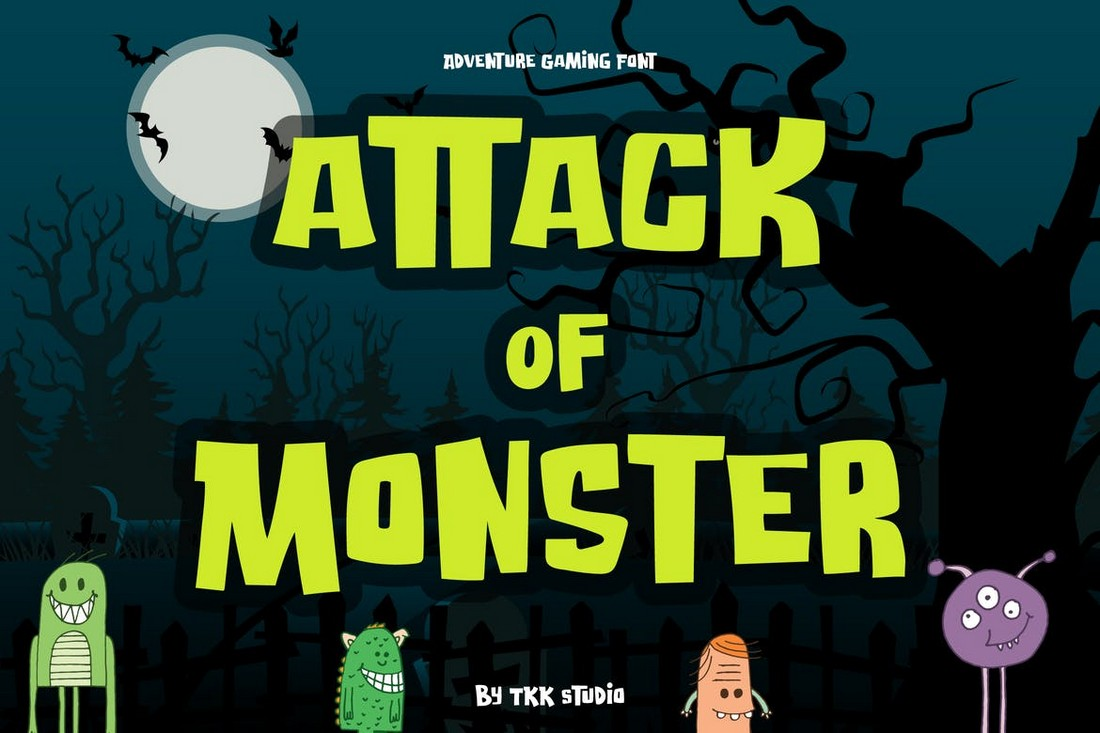 Attack of Monster - Spooky Cartoon Font