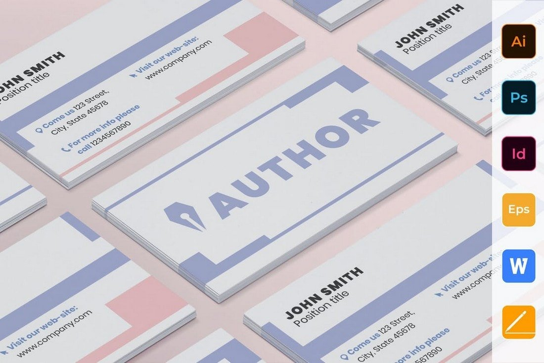 Author-Multi-format-Business-Card-Template 20+ Business Card Templates for Google Docs (Free & Premium) design tips