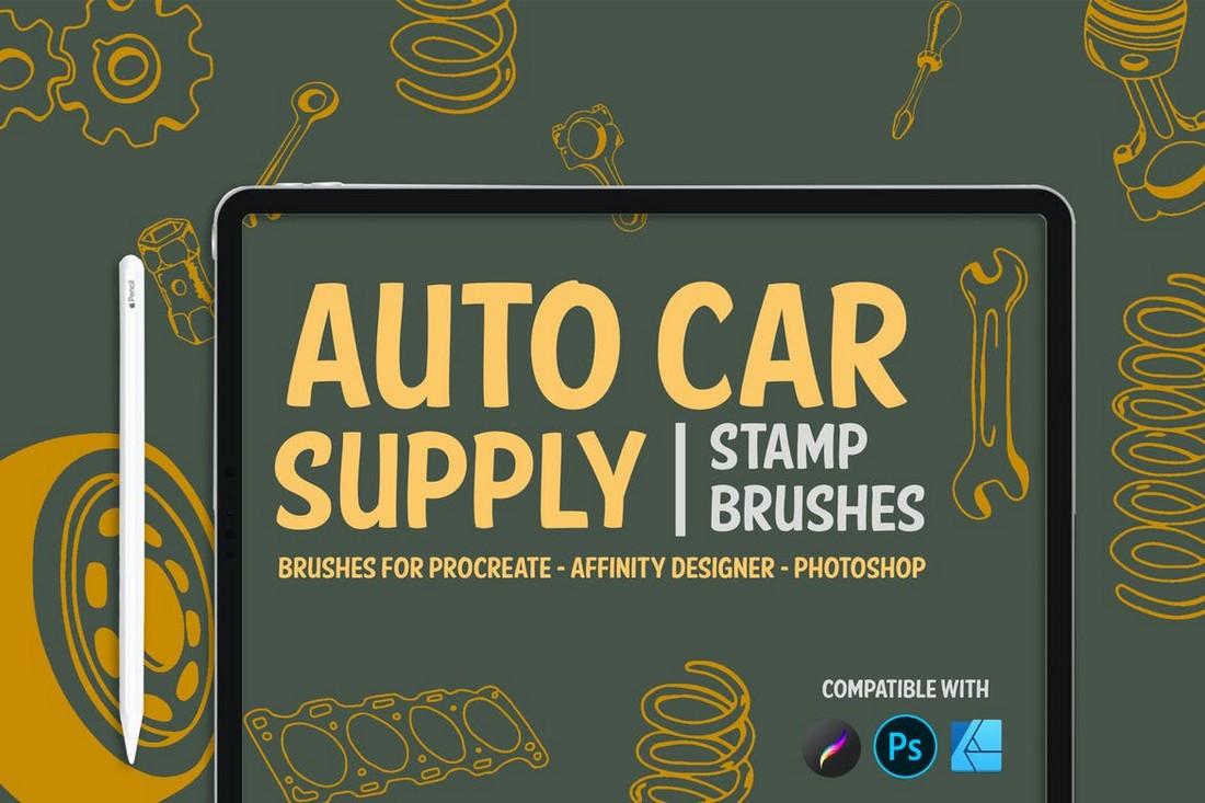 Auto Car Supply Stamp Brushes for Affinity Designer