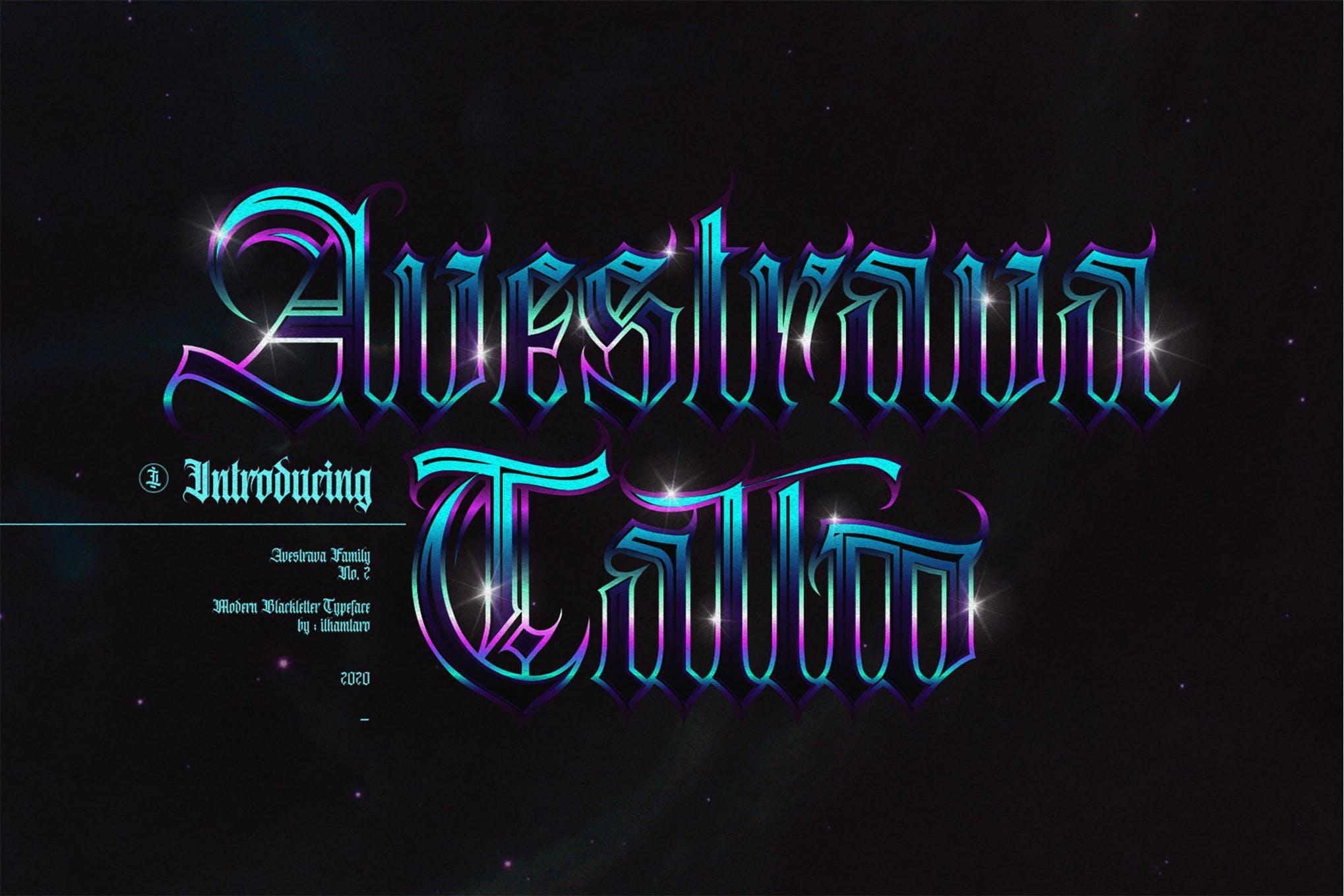 Avestrava Tattoo font