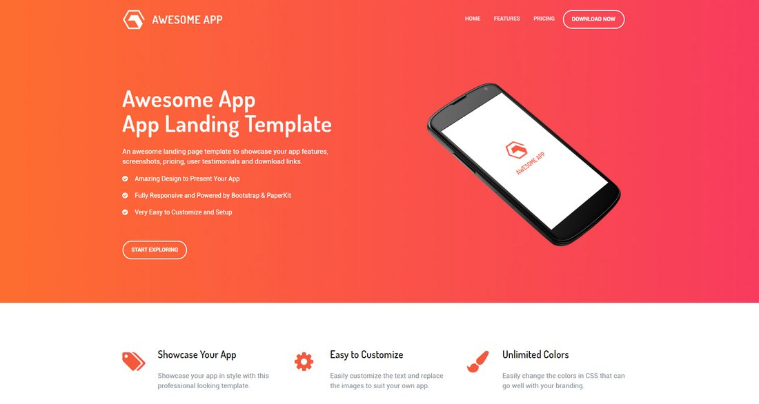 Awesome-App-Free-App-Landing-Page-Template 50+ Best App Landing Page Templates 2021 design tips