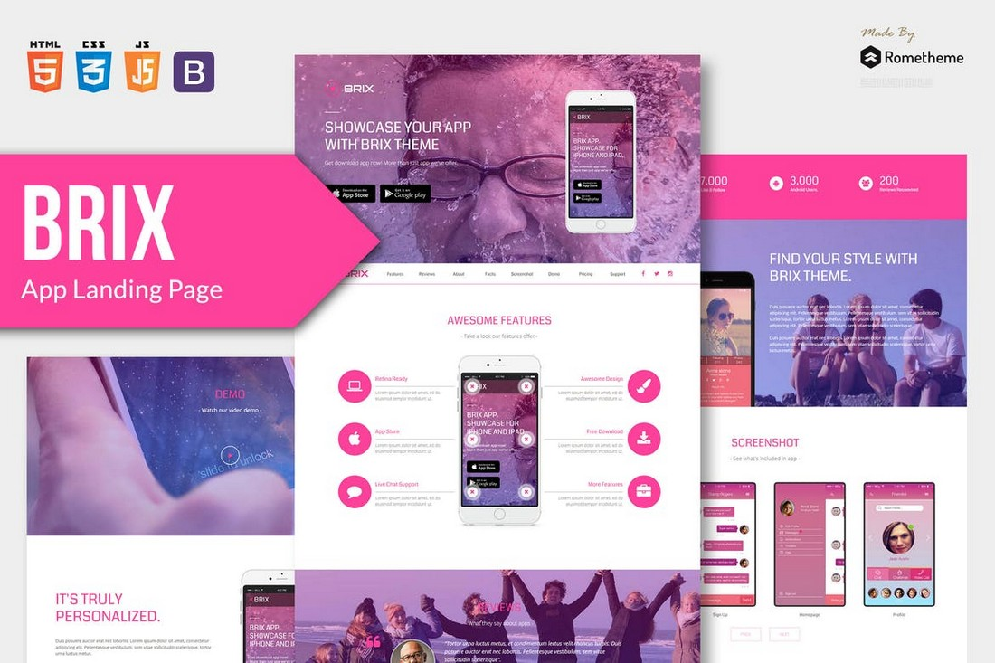 BRIX-Mobile-App-Landing-Page-Template 50+ Best App Landing Page Templates 2021 design tips