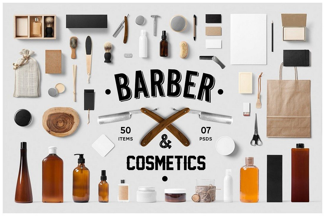 Barber-Cosmetics-Branding-Mock-Up 40+ Stunning Vintage Mockup Packs & Graphics design tips