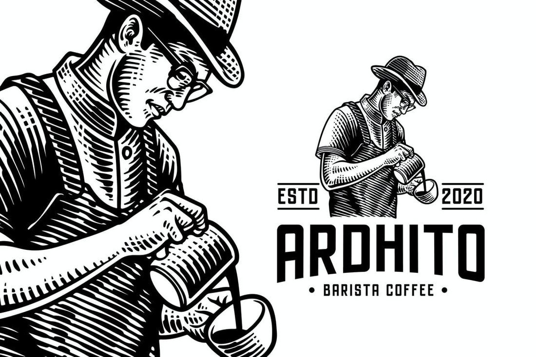 Barista-Vintage-Engraving-Logo-Template 40+ Best Photoshop Logo Templates (PSD) design tips