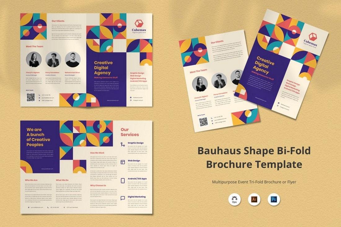 Bauhaus-Shape-Agency-Bifold-Brochure 20+ Professional Brochure Templates & Designs design tips  Inspiration