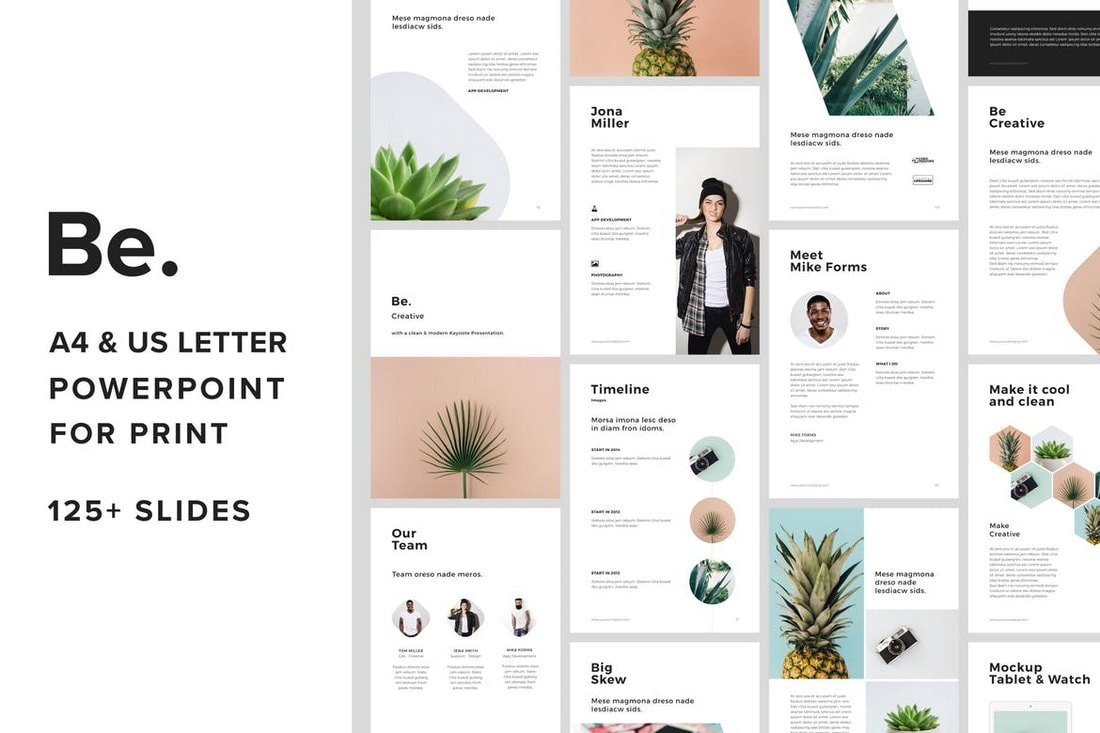 Be. - A4 & US Letter Vertical Powerpoint Template