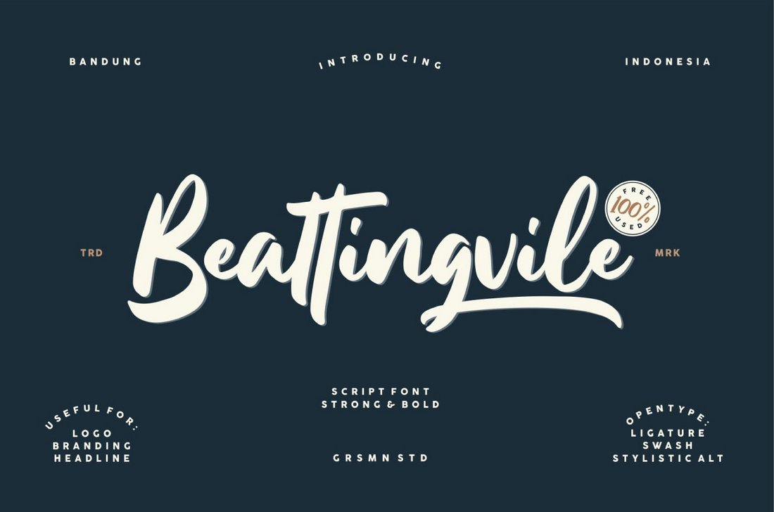 Beattingvile - free italic font