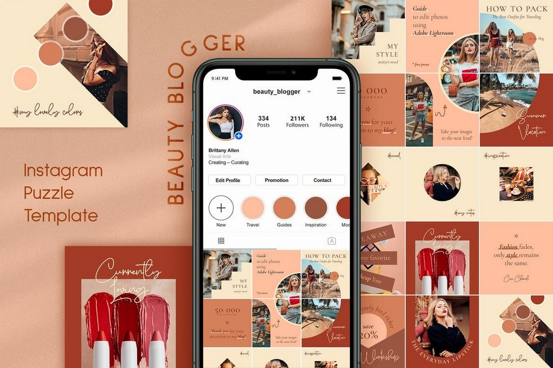 Beauty Blogger - Puzzle Instagram Feed Theme
