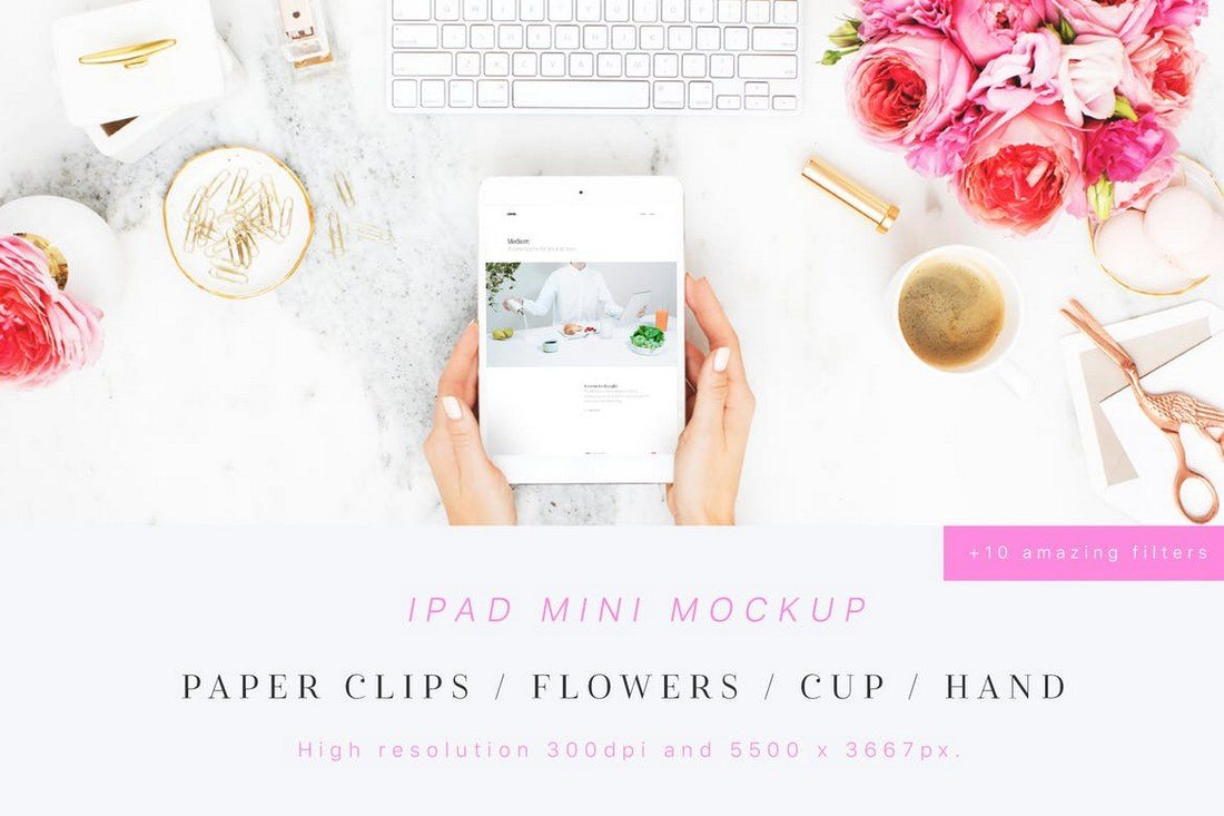 Beauty-Flowers-iPad-Mini-Mockup 100+ iPad Mockups: PSDs, Photos & Vectors design tips