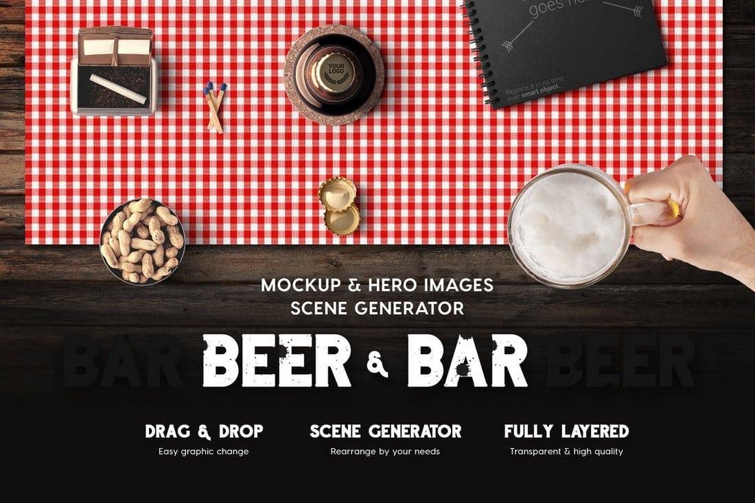 Beer & Bar Mockup & Hero Scene Generator