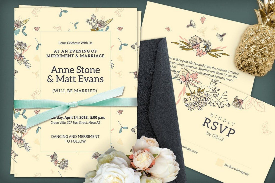 50 wonderful wedding invitation card design samples design shack a unique wedding invitation template for creatively sending the message across to your loved ones this psd template features a unique playful design that stopboris Gallery
