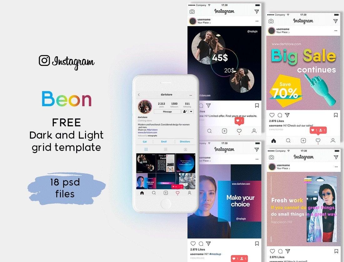 Beon - Free Instagram Grid Template
