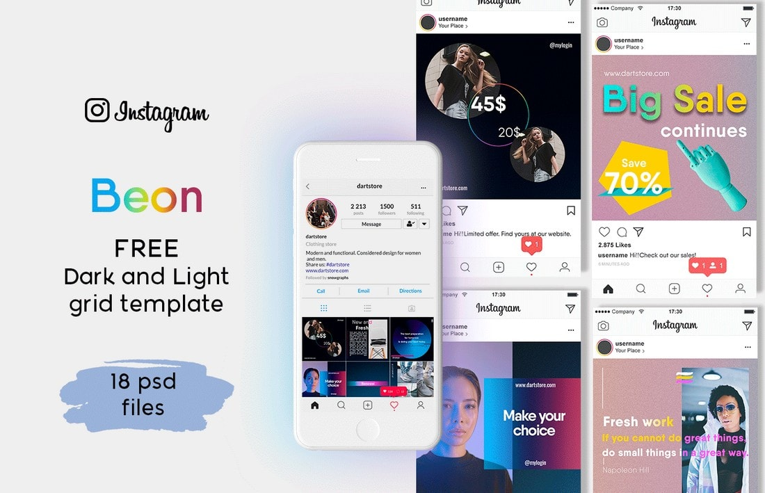 Beon-Free-Instagram-Grid-Template 40+ Best Social Media Kit Templates & Graphics design tips  Inspiration|facebook|social media|twitter