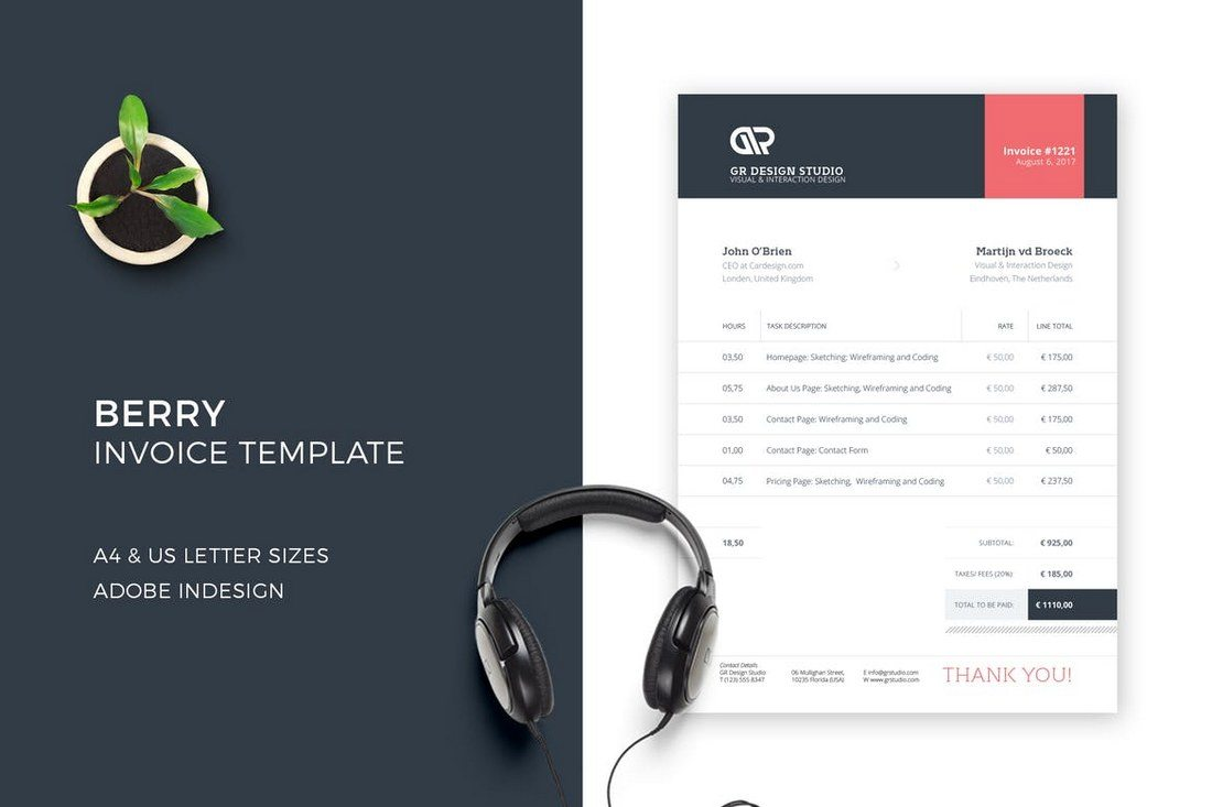 Berry-Invoice 80+ Modern Stationery Templates design tips