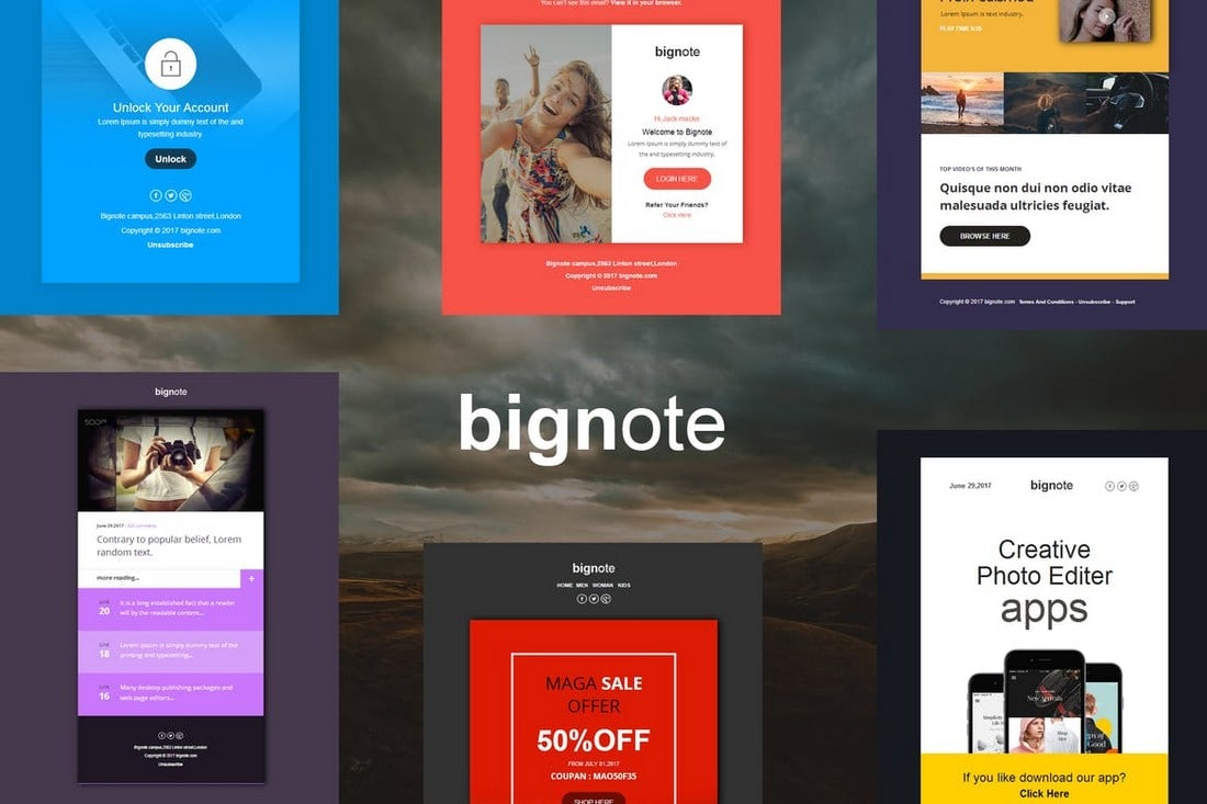 Bignote-24-Email-Notification-Templates 40+ Modern Responsive Email Templates 2021 design tips