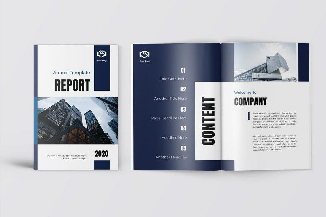 Biru-Business-Annual-Report-Template 30+ Annual Report Templates (Word & InDesign) 2020 design tips  Inspiration|annual|report|template