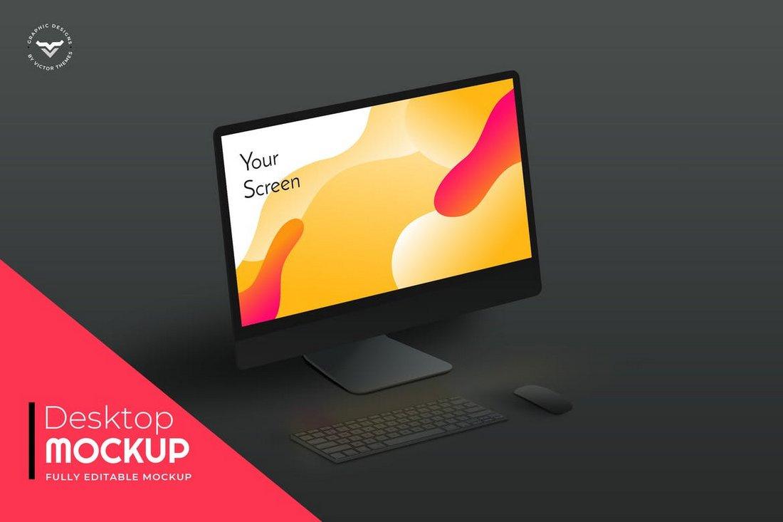 Black Minimal Desktop Mockups