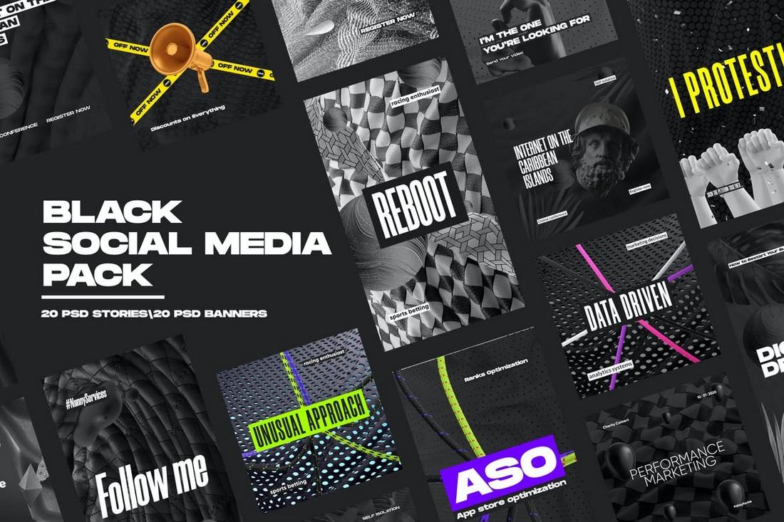 Black Social Media Banner Templates Pack