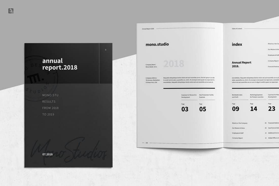 Black & White Annual Report Template