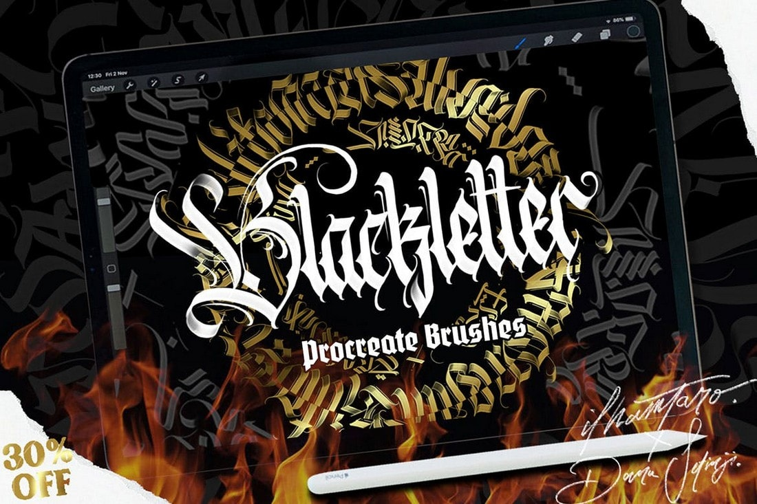 Blackletter-Brush-for-Procreate 30+ Best Procreate Brushes 2020 (Free & Pro) design tips