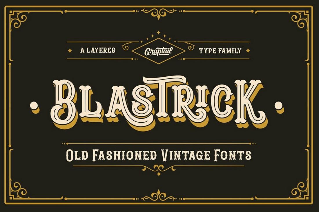Blastrick - Vintage 3D Layered Font