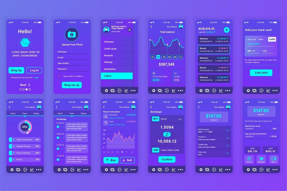 Blockchain-Mobile-App-Screens-UI-Templates 25+ Best Mobile App UI Design Examples + Templates design tips  Inspiration